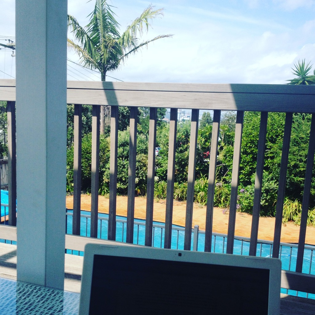 *Writing by the pool